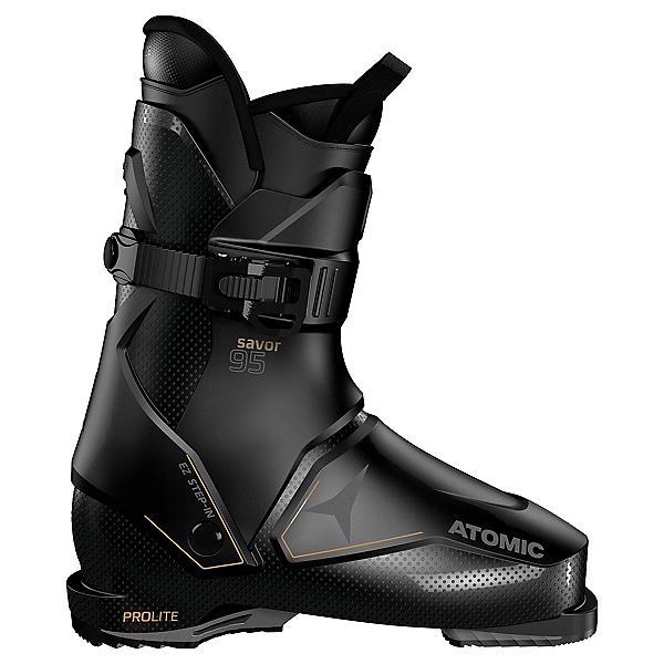 Atomic Savor 95 Womens Rear Entry Ski Boots, Black-Gold, 600