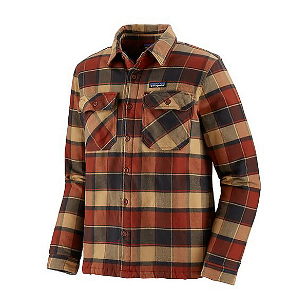 Patagonia Insulated Fjord Flannel Shirt, Plots-Burnished Red, 600
