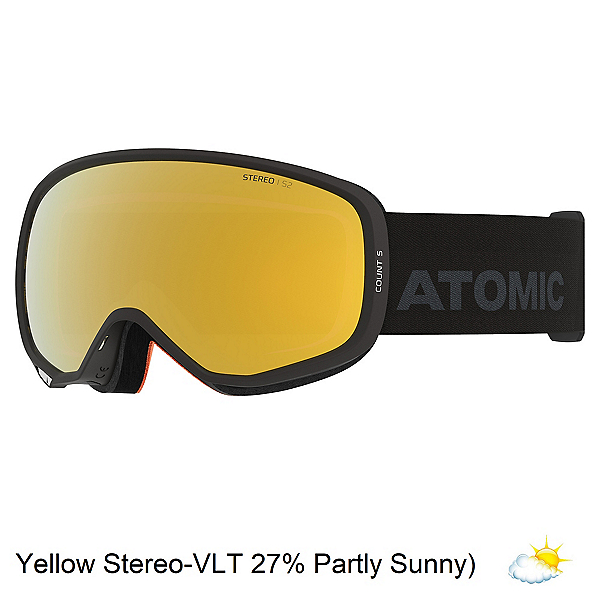 Atomic Count S Stereo Goggles, Black-Yellow Stereo, 600