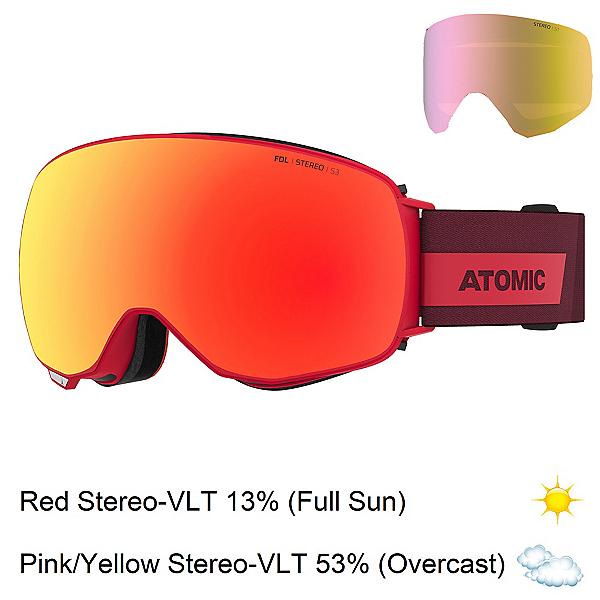 Atomic Revent Q Stereo Goggles, Red-Red Stereo + Bonus Lens, 600