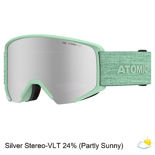 Atomic Savor Big Stereo Womens Goggles, Mint Sorbet-Silver Stereo, 600