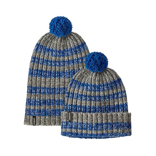 Patagonia Wool Pom Beanie 2021, Alfalfa Stripe-Alpine Blue, 600