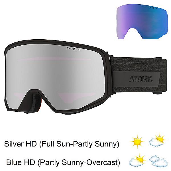 Atomic Four Q HD Goggles, Black-Silver Hd + Bonus Lens, 600