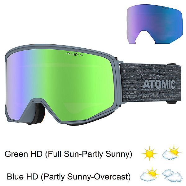 Atomic Four Q HD Goggles, Grey-Green Hd + Bonus Lens, 600