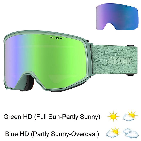 Atomic Four Q HD Womens Goggles, Mint Sorbet-Green Hd + Bonus Lens, 600