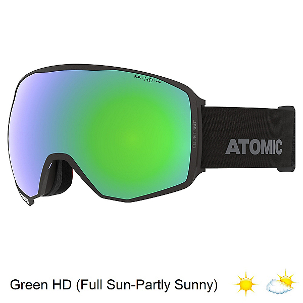 ATOM Count 360 HD Goggles, Black-Green Hd + Bonus Lens, 600
