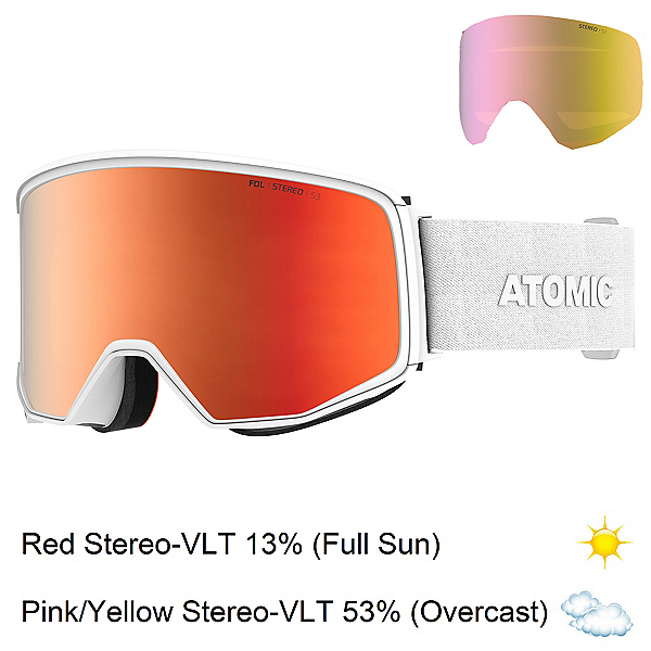 Atomic Four Q Stereo Goggles, White-Red Stereo + Bonus Lens, 600