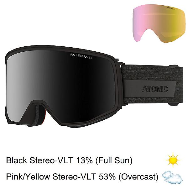 Atomic Four Q Stereo Goggles, Black-Black Stereo + Bonus Lens, 600