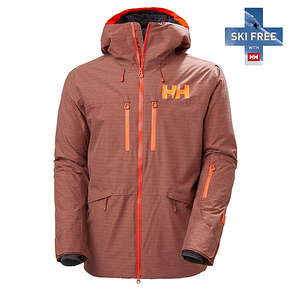 Helly Hansen Garibaldi 2.0 Mens Insulated Ski Jacket, Redwood Melange, 600