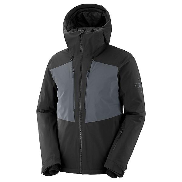 Salomon Highland Mens Insulated Ski Jacket, Black-Ebony, 600