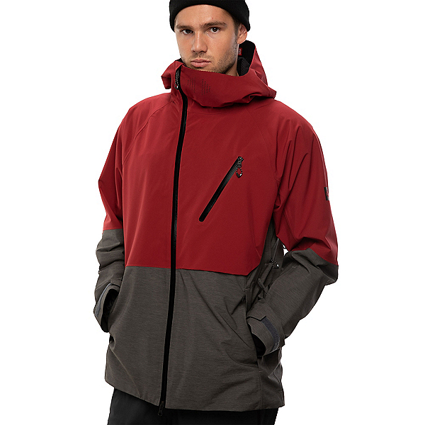 686 Hydra Thermagraph Mens Insulated Snowboard Jacket, Oxblood Colorblock, 600