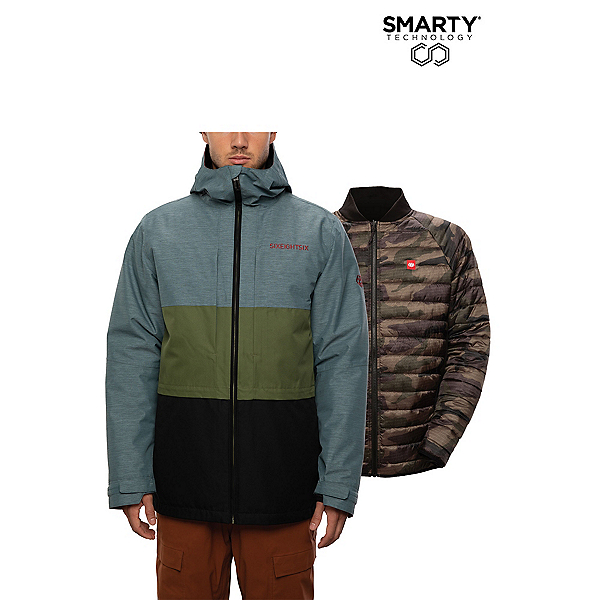686 Smarty 3-in-1 Form Mens Insulated Snowboard Jacket, Goblin Blue Heather Clrblk, 600
