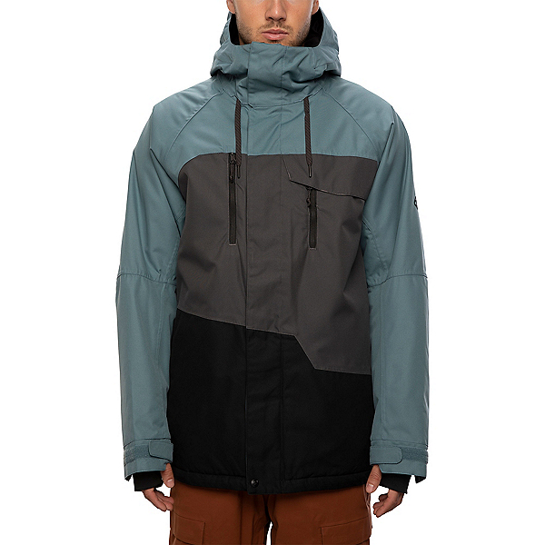 686 Geo Mens Insulated Snowboard Jacket, Goblin Blue Colorblock, 600