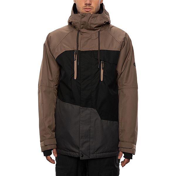 686 Geo Mens Insulated Snowboard Jacket, Tobacco Colorblock, 600