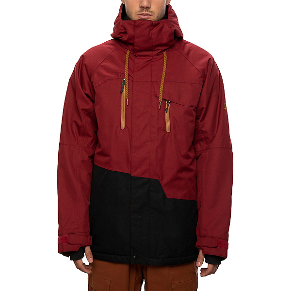 686 Geo Mens Insulated Snowboard Jacket, Oxblood Colorblock, 600