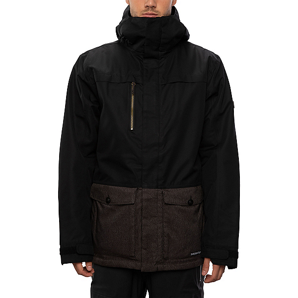 686 Anthem Mens Insulated Snowboard Jacket, Black Colorblock, 600