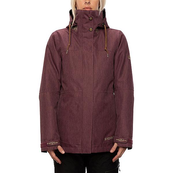 686  Womens Insulated Snowboard Jacket, Plum Diamond Texture, 600