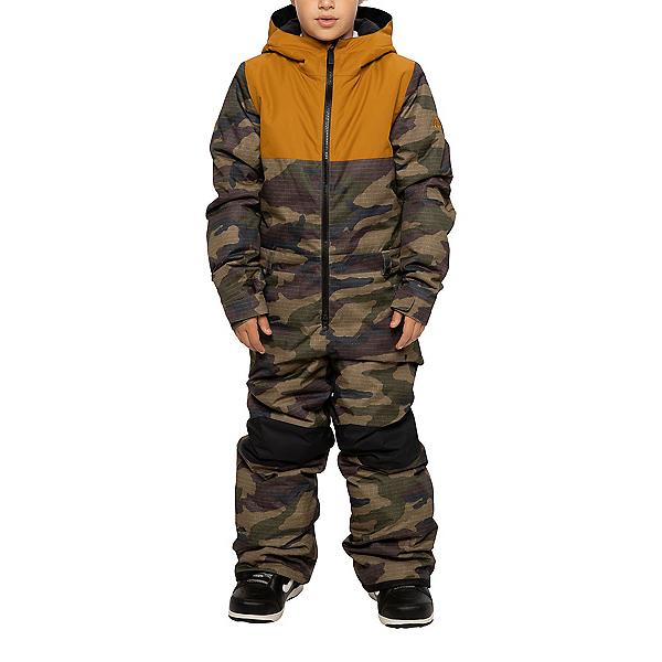 686 Shazam Kids One Piece Ski Suit, Dark Camo Colorblock, 600
