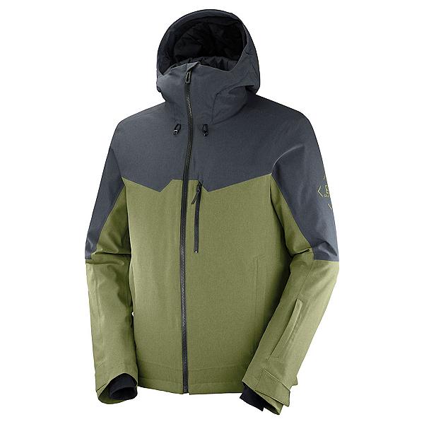 Salomon Untracked Mens Insulated Ski Jacket, Martini Olive-Ebony-Heather, 600