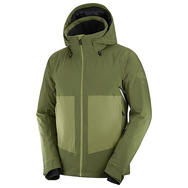 Salomon Epic Mens Insulated Ski Jacket, Olive Night-Martini Olive-Whit, 600