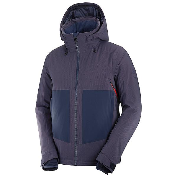 Salomon Epic Mens Insulated Ski Jacket, Night Sky-Goji Berry, 600