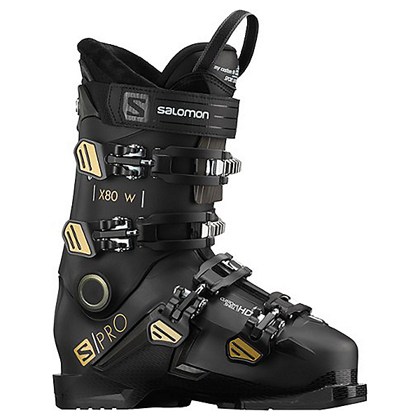 Salomon S/Pro X80 CS Womens Ski Boots, Black-Belluga-Gold, 600
