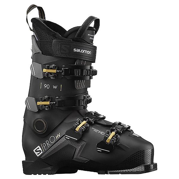 Salomon S/Pro HV 90 Womens Ski Boots, Black-Belluga-Golden Glaw, 600