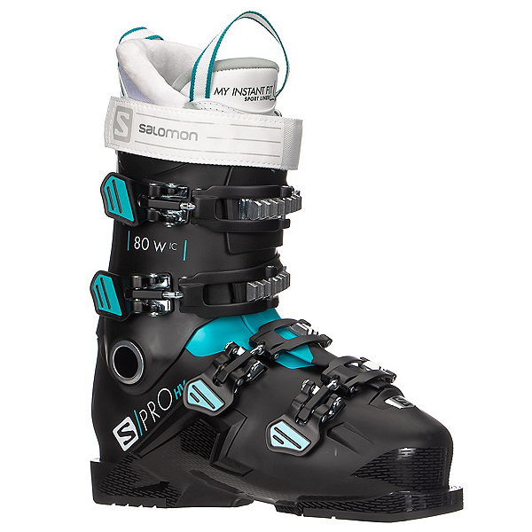 Salomon S/Pro HV 80 IC Womens Ski Boots, Black-Scuba Blue-White, 600