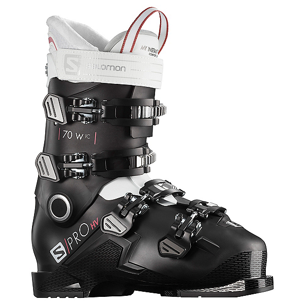 Salomon S/Pro HV 70 IC Womens Ski Boots, Black-White-Garnet Pink, 600