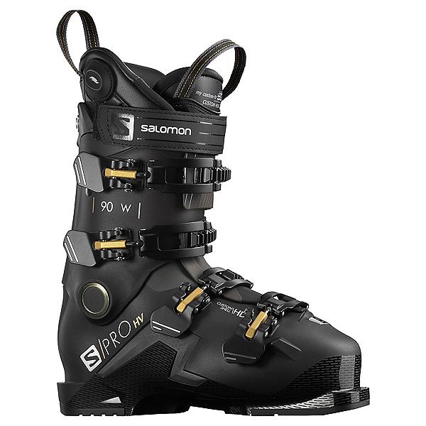 Salomon S/Pro HV 90 CHC Womens Ski Boots, Black-Belluga-Golden Glaw, 600