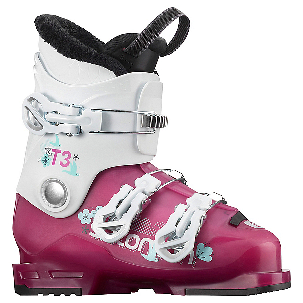 Salomon T3 RT Girls Ski Boots, Rose Violet Translucent-White, 600