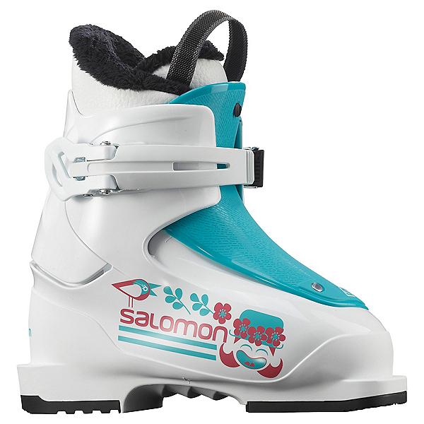 Salomon T1 Girls Ski Boots, White-Scuba Blue, 600