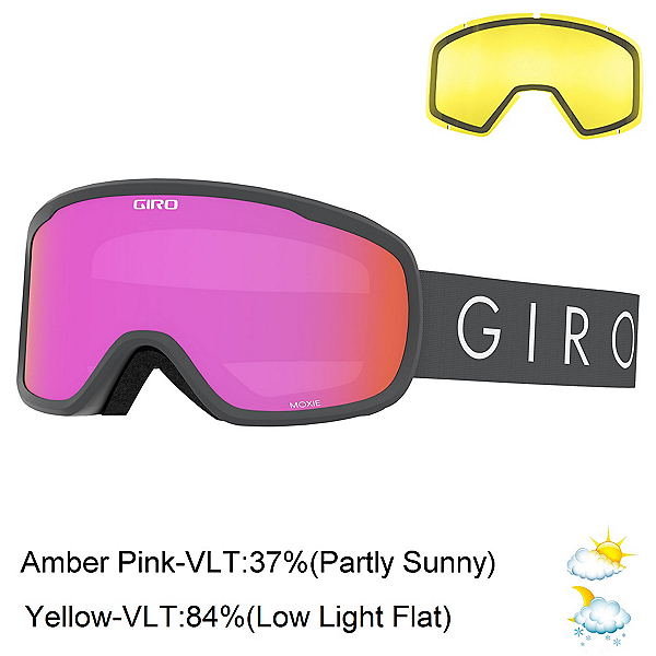 Giro Moxie Womens Goggles, Titanium Core Light-Amber Pink + Bonus Lens, 600
