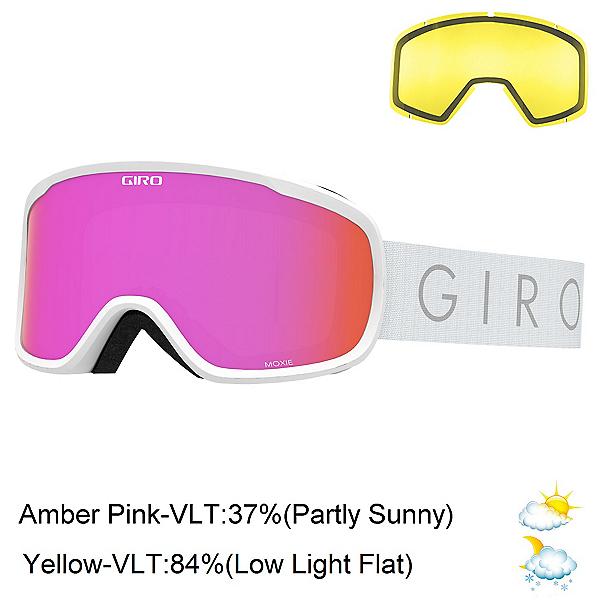 Giro Moxie Womens Goggles 2022, White Core Light-Amber Pink + Bonus Lens, 600