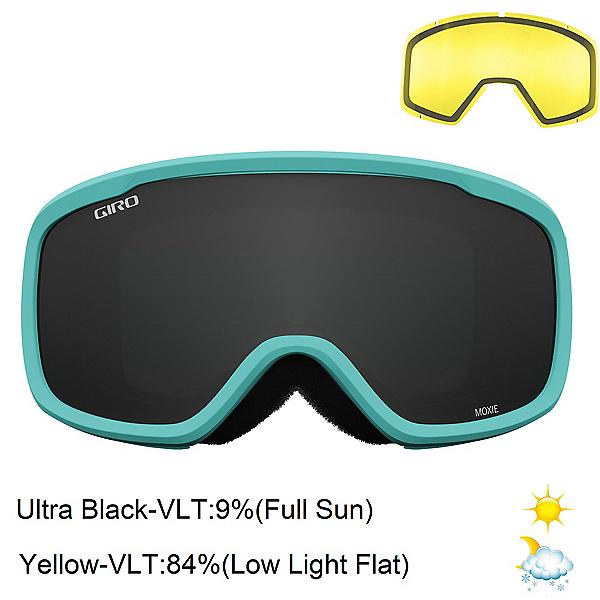 Giro Moxie Womens Goggles 2022, Glaze Blue Mica-Ultra Black + Bonus Lens, 600