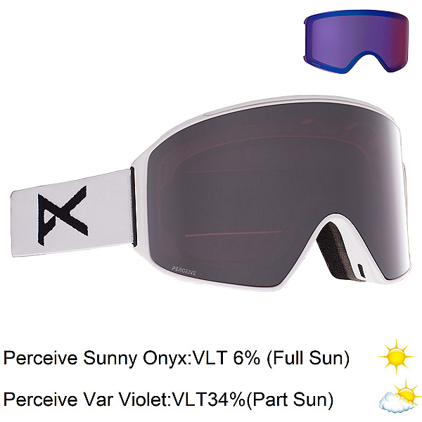 Anon M4 Cylindrical Goggles, White-Perceive Sunny Onyx + Bonus Lens, 600