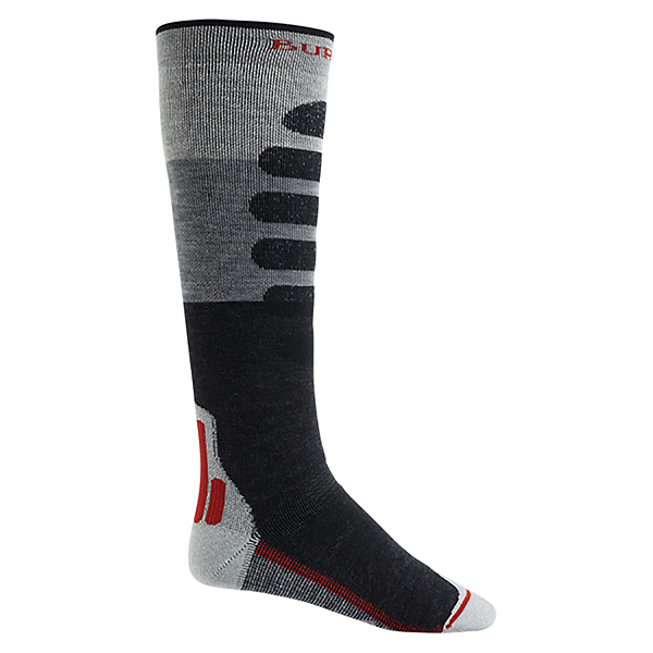 Burton Performance+ Snowboard Socks, Gray Heather Block, 600