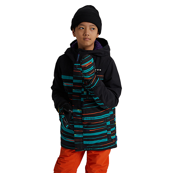 Burton Covert Boys Snowboard Jacket, True Black Scribble, 600
