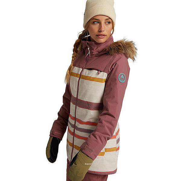 Burton Lelah Womens Insulated Snowboard Jacket, Rose Brown-Creme Stripe, 600