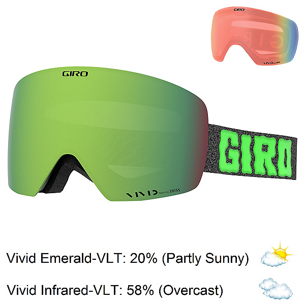 Giro Contour Goggles, Green Cosmic Slime-Vivid Emera + Bonus Lens, 600