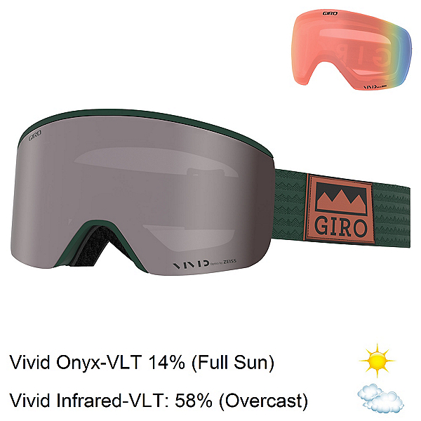 Giro Axis Goggles, Well Green Alps-Vivid Onyx + Bonus Lens, 600