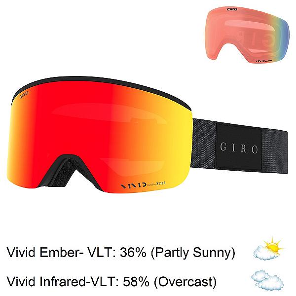 Giro Axis Goggles, Black Mono-Vivid Ember + Bonus Lens, 600