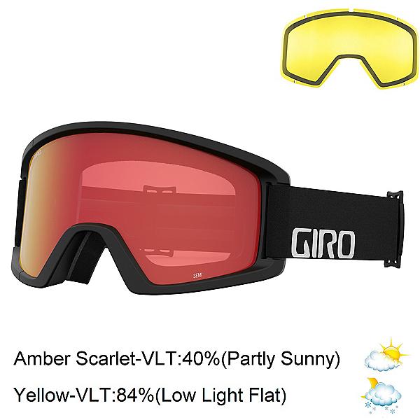 Giro Semi Goggles 2022, Black Wordmark-Amber Scarlet + Bonus Lens, 600