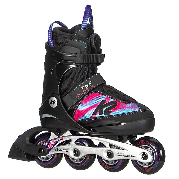 K2 Charm BOA ALU Adjustable Girls Inline Skates, Purple Swirl, 600