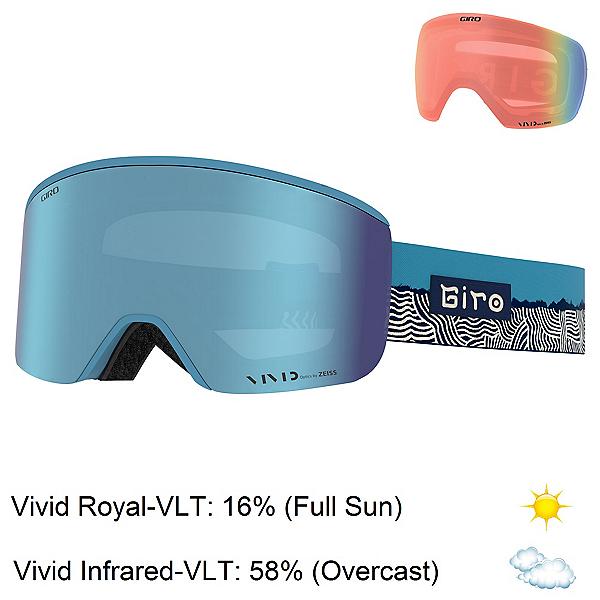 Giro Ella Womens Goggles, Powder Blue Ridge Line-Vivid R + Bonus Lens, 600