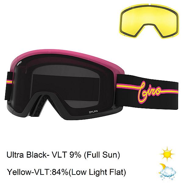 Giro Dylan Womens Goggles, Pink Neon Lights-Ultra Black + Bonus Lens, 600