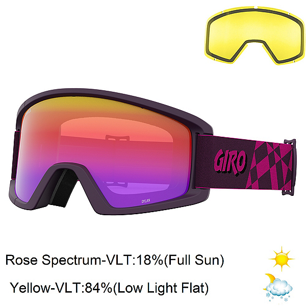 Giro Dylan Womens Goggles 2022, Pink Cover Up-Rose Spectrum + Bonus Lens, 600