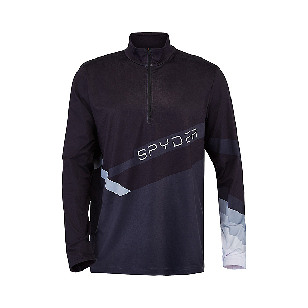 Spyder Mandate Zip T-Neck Mens Mid Layer, Black-Ebony, 600