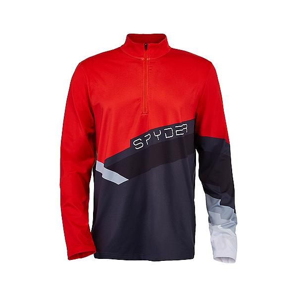 Spyder Mandate Zip T-Neck Mens Mid Layer, Ebony-Volcano, 600