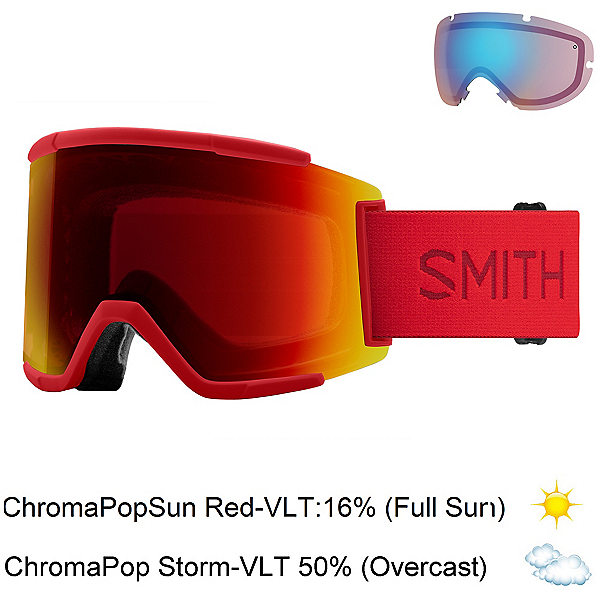 Smith Squad XL Goggles, Lava-Chromapop Sun Red Mirror + Bonus Lens, 600